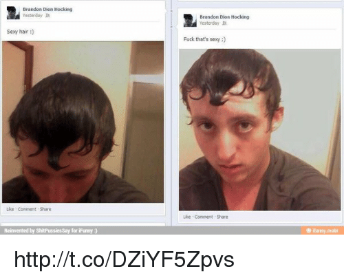Memes, Fuck That, and 🤖: Brandon Dion Hocking  Yesterday  sexy hair  Lke Comment Share  Reinvented by  ShitPussiessay for iFurmy  Brandon Dion Hocking  Yesterday  Fuck that's sexy  Like Comment Share  ifunny.mobi http://t.co/DZiYF5Zpvs
