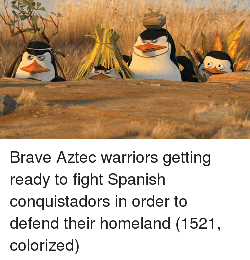 Spanish, Brave, and Homeland: Brave Aztec warriors getting ready to fight Spanish conquistadors in order to defend their homeland (1521, colorized)