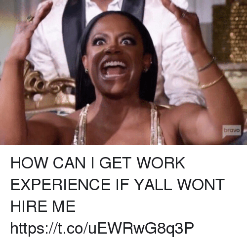 Work, Bravo, and Girl Memes: bravo HOW CAN I GET WORK EXPERIENCE IF YALL WONT HIRE ME https://t.co/uEWRwG8q3P