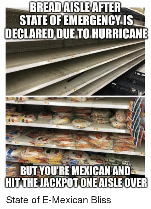 Hurricane, Mexican, and Bread: BREAD  AISLE AFTER  STATE OF EMERGENCYIS  DECLARED DUE TO HURRICANE  BUT YOU'RE MEKICAN ANID  HIT THEJACKPOT ONEAISLE OVER State of E-Mexican Bliss