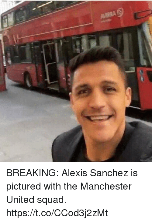 Soccer, Squad, and Manchester United: BREAKING: Alexis Sanchez is pictured with the Manchester United squad. https://t.co/CCod3j2zMt