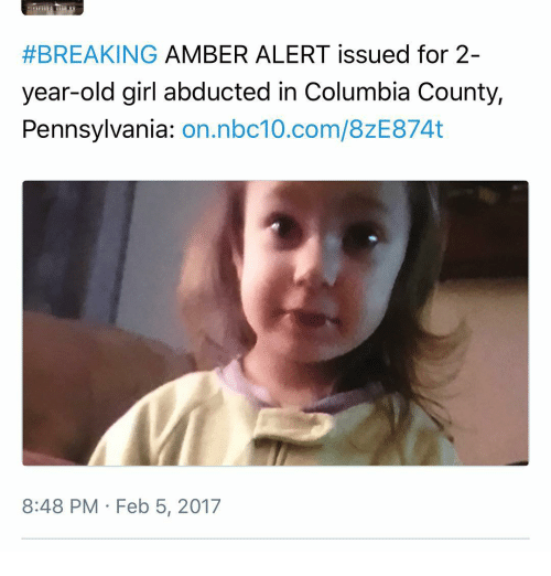 Breaking Amber Alert Issued For 2 Year Old Girl Abducted In Columbia