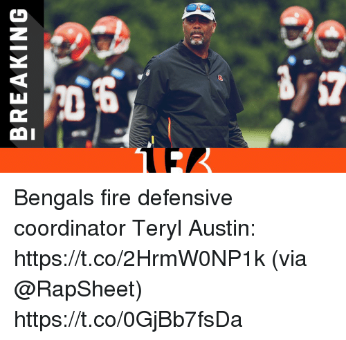 Fire, Memes, and Bengals: BREAKING Bengals fire defensive coordinator Teryl Austin: https://t.co/2HrmW0NP1k (via @RapSheet) https://t.co/0GjBb7fsDa