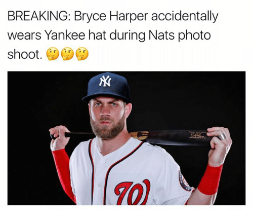 Bryce Harper, Photos, and Hats: BREAKING: Bryce Harper accidentally  wears Yankee hat during Nats photo  shoot