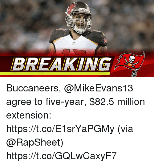 Memes, 🤖, and Buccaneers: BREAKING Buccaneers, @MikeEvans13_ agree to five-year, $82.5 million extension: https://t.co/E1srYaPGMy (via @RapSheet) https://t.co/GQLwCaxyF7