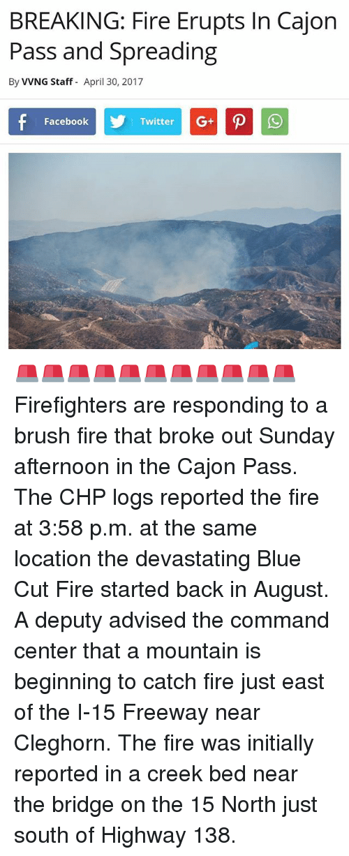 BREAKING Fire Erupts in Cajon Pass and Spreading by VVNG Staff April