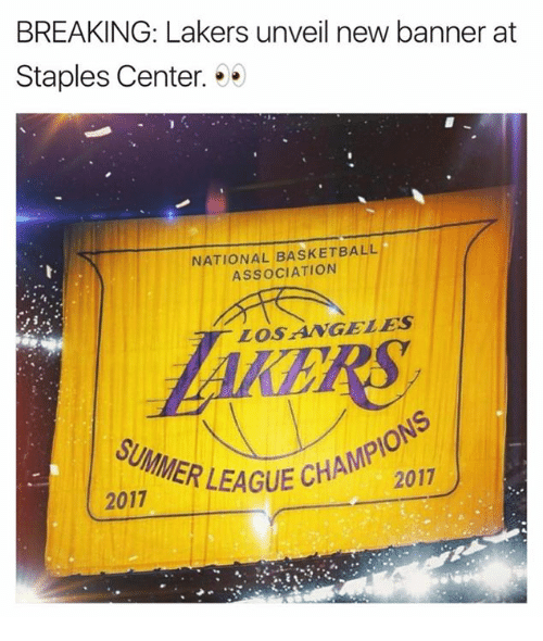 Basketball, Los Angeles Lakers, and Summer: BREAKING: Lakers unveil new banner at  Staples Center. . .  NATIONAL BASKETBALL  ASSOCIATION  LOSANGELES  GUE CHAMPIONS  2017  SUMMER LEAGU  ER LEAGUE CHA  2017
