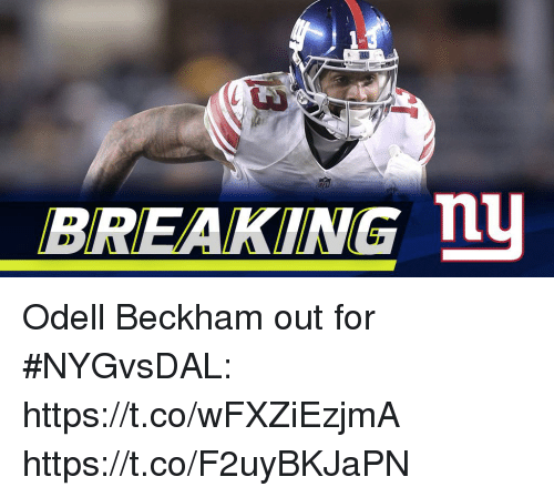 Memes, 🤖, and Beckham: BREAKING n Odell Beckham out for #NYGvsDAL: https://t.co/wFXZiEzjmA https://t.co/F2uyBKJaPN