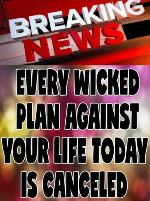 Life, Memes, and News: BREAKING  NEWS  EVERY WICKED  PLAN AGAINS  OUR LIFE TODAY  IS CANCELED