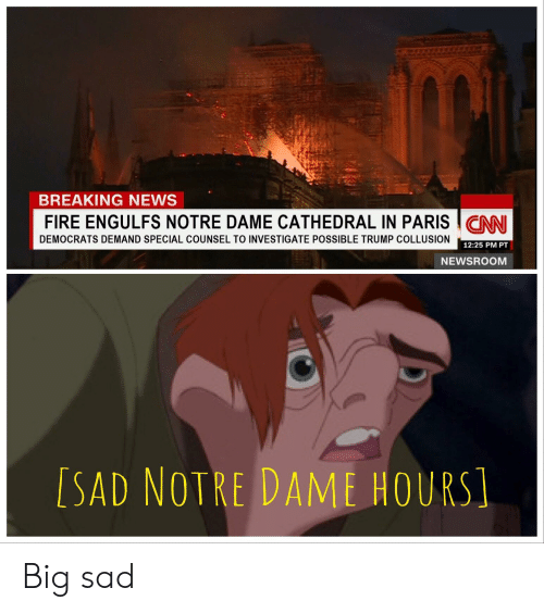 Fire, News, and Breaking News: BREAKING NEWS  FIRE ENGULFS NOTRE DAME CATHEDRAL IN PARISCNN  DEMOCRATS DEMAND SPECIAL COUNSEL TO INVESTIGATE POSSIBLE TRUMP COLLUSION  12:25 PM PT  NEWSROOM  [SAD NOTRE DAME HOURS Big sad