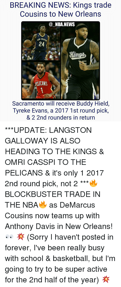 Breaking News Kings Trade Cousins To New Orleans Nba News Orlea 24