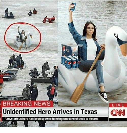 cnn.com, News, and Soda: BREAKING NEWS  LIVE  Unidentified Hero Arrives in Texas  CNN  A mysterious hero has been spotted handing out cans of soda to victims