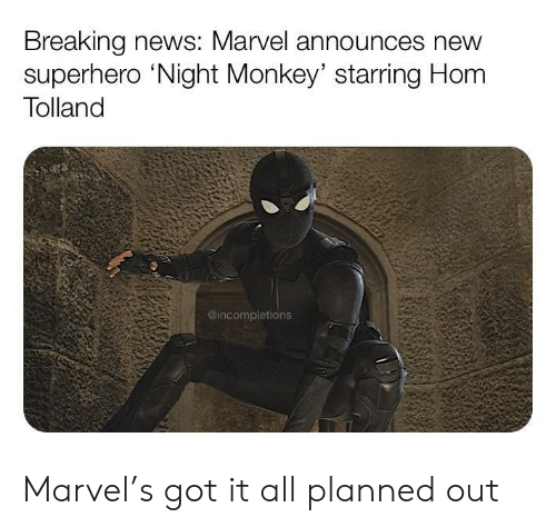 News, Superhero, and Breaking News: Breaking news: Marvel announces new  superhero 'Night Monkey' starring Hom  Tolland  @incompletions Marvel's got it all planned out