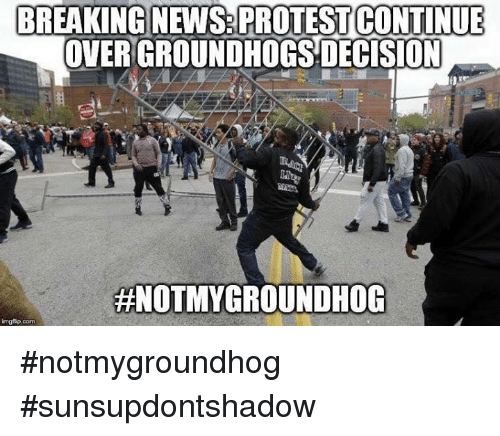 Memes, 🤖, and Groundhog: BREAKING NEWS PROTEST CONTINUE  OVER GROUNDHOGS DECISION  HNOTMYGROUNDHOG  imgflip.com #notmygroundhog #sunsupdontshadow