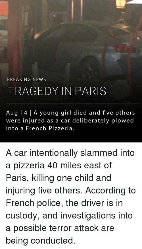 Memes, News, and Police: BREAKING NEWS  TRAGEDY IN PARIS  Aug 14 | A young girl died and five others  were injured as a car deliberately plowed  into a French Pizzeria A car intentionally slammed into a pizzeria 40 miles east of Paris, killing one child and injuring five others. According to French police, the driver is in custody, and investigations into a possible terror attack are being conducted.