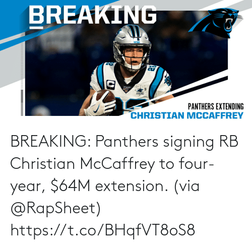 Memes, Panthers, and 🤖: BREAKING: Panthers signing RB Christian McCaffrey to four-year, $64M extension. (via @RapSheet) https://t.co/BHqfVT8oS8
