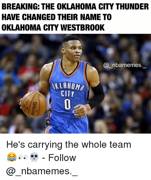 Memes, Oklahoma City Thunder, and Oklahoma: BREAKING THE OKLAHOMA CITY THUNDER  HAVE CHANGED THEIR NAME TO  OKLAHOMA CITY WESTBROOK  nbamemes.  CITY He's carrying the whole team 😂👀💀 - Follow @_nbamemes._