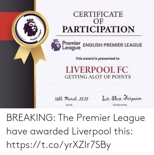 Premier League, Soccer, and Liverpool F.C.: BREAKING: The Premier League have awarded Liverpool this: https://t.co/yrXZIr7SBy