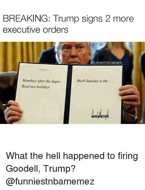 Nfl, Mark Sanchez, and Executive Order: BREAKING: Trump signs 2 more  executive orders  @FUNNIESTNFLMEMES  Mondays after the Super  Mark Sanchez is the  Bowl are holidays What the hell happened to firing Goodell, Trump? @funniestnbamemez