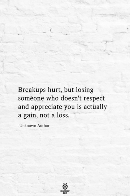 Respect, Appreciate, and Who: Breakups hurt, but losing  someone who doesn't respect  and appreciate you is actually  a gain, not a loss.  -Unknown Author  RELATIONSHIP  ES