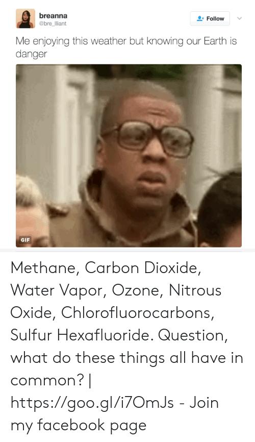 Facebook, Gif, and Common: breanna  @bre lliant  Follow  Me enjoying this weather but knowing our Earth is  danger  GIF Methane, Carbon Dioxide, Water Vapor, Ozone, Nitrous Oxide, Chlorofluorocarbons, Sulfur Hexafluoride. Question, what do these things all have in common? | https://goo.gl/i7OmJs - Join my facebook page