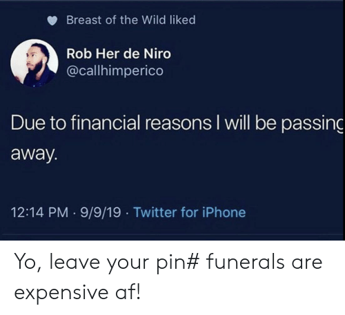 Af, Iphone, and Twitter: Breast of the Wild liked  Rob Her de Niro  @callhimperico  Due to financial reasons I will be passing  away.  12:14 PM 9/9/19 Twitter for iPhone Yo, leave your pin# funerals are expensive af!