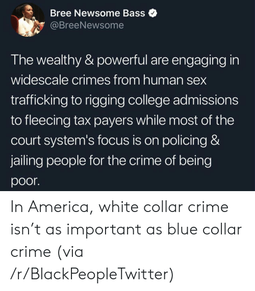 America, Blackpeopletwitter, and College: Bree Newsome Bass  @BreeNewsome  The wealthy & powerful are engaging in  widescale crimes from human sex  trafficking to rigging college admissions  to fleecing tax payers while most of the  court system's focus is on policing &  jailing people for the crime of being  poor In America, white collar crime isn't as important as blue collar crime (via /r/BlackPeopleTwitter)