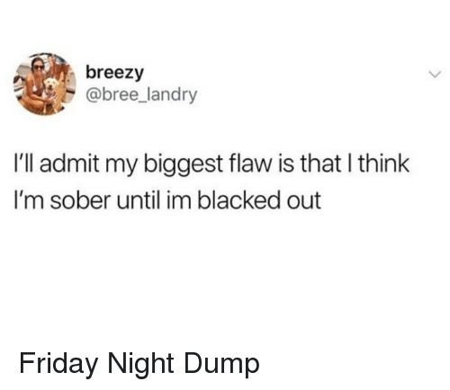 Friday, Blacked, and Sober: breezy  @bree_landry  I'll admit my biggest flaw is that I think  I'm sober until im blacked out Friday Night Dump