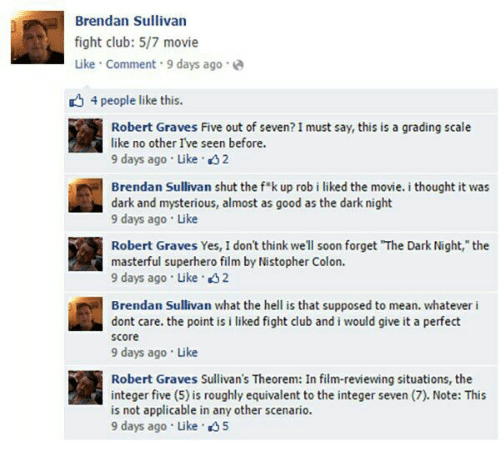 """Club, Fight Club, and Soon...: Brendan Sullivan  fight club: 5/7 movie  ike Comment 9 days ago  4 people like this.  Robert Graves Five out of seven? I must say, this is a grading scale  山』  like no other I've seen before.  9 days ago Like 2  Brendan Sullivan shut the f k up rob i liked the movie. i thought it was  dark and mysterious, almost as good as the dark night  9 days ago Like  Robert Graves Yes, I don't think well soon forget """"The Dark Night, the  masterful superhero film by Nistopher Colon.  9 days ago Like 2  Brendan Sullivan what the hell is that supposed to mean. whatever i  dont care. the point is i liked fight club and i would give it a perfect  score  9 days ago Like  Robert Graves Sullivan's Theorem: In film-reviewing situations, the  integer five (5) is roughly equivalent to the integer seven (7). Note: This  is not applicable in any other scenario.  9 days ago . Like ."""