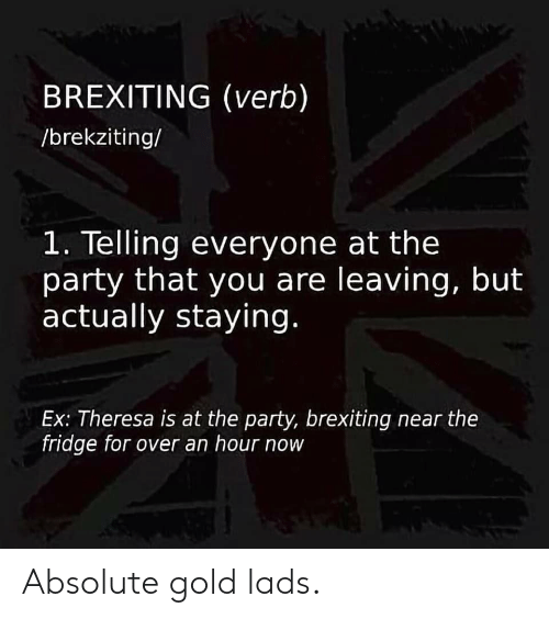 Party, Reddit, and Gold: BREXITING (verb)  /brekziting/  1. Telling everyone at the  party that you are leaving, but  actually staying.  Ex: Theresa is at the party, brexiting near the  fridge for over an hour now Absolute gold lads.
