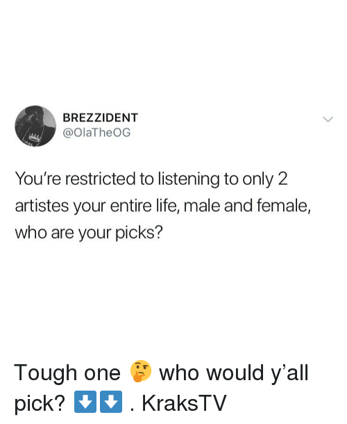 Life, Memes, and Tough: BREZZIDENT  @olaTheOG  You're restricted to listening to only 2  artistes your entire life, male and female,  who are your picks? Tough one 🤔 who would y'all pick? ⬇️⬇️ . KraksTV