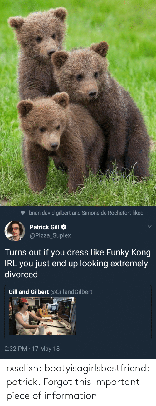 Pizza, Target, and Tumblr: brian david gilbert and Simone de Rochefort liked  Patrick Gill  @Pizza_Suplex  Turns out if you dress like Funky Kong  IRL you just end up looking extremely  divorced  Gill and Gilbert @GillandGilbert  2:32 PM · 17 May 18 rxselixn:  bootyisagirlsbestfriend:  patrick.  Forgot this important piece of information