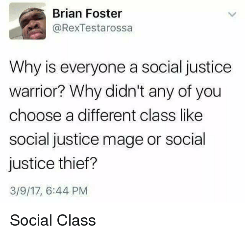 Justice, Thief, and Warrior: Brian Foster  @RexTestarossa  Why is everyone a social justice  warrior? Why didn't any of you  choose a different class like  social justice mage or social  justice thief?  3/9/17, 6:44 PM Social Class
