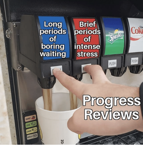 Reviews, Waiting..., and Stress: Brief  Long  periods periods  Dic  Cok  cf  boring intense  waiting stress  of  PUSH  PUSH  Prog ress  Reviews