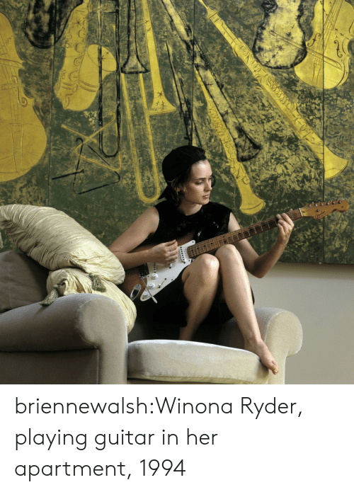 Tumblr, Blog, and Guitar: briennewalsh:Winona Ryder, playing guitar in her apartment, 1994