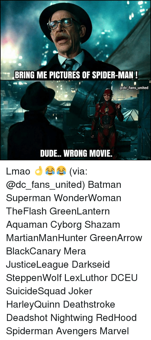 Batman, Dude, and Joker: BRING ME PICTURES OF SPIDER-MAN!  @dc fans united  DUDE.. WRONG MOVIE Lmao 👌😂😂 (via: @dc_fans_united) Batman Superman WonderWoman TheFlash GreenLantern Aquaman Cyborg Shazam MartianManHunter GreenArrow BlackCanary Mera JusticeLeague Darkseid SteppenWolf LexLuthor DCEU SuicideSquad Joker HarleyQuinn Deathstroke Deadshot Nightwing RedHood Spiderman Avengers Marvel
