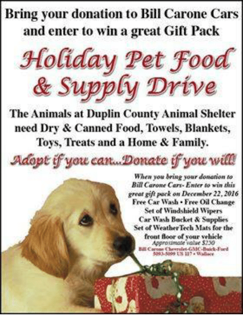 bring your donation to bill carone cars and enter to win a great gift pack holiday pet food. Black Bedroom Furniture Sets. Home Design Ideas