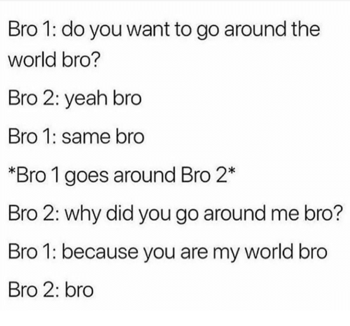 Yeah, World, and Why: Bro 1: do you want to go around the  world bro?  Bro 2: yeah bro  Bro 1: same bro  Bro 1 goes around Bro 2*  Bro 2: why did you go around me bro?  Bro 1: because you are my world bro  Bro 2: bro
