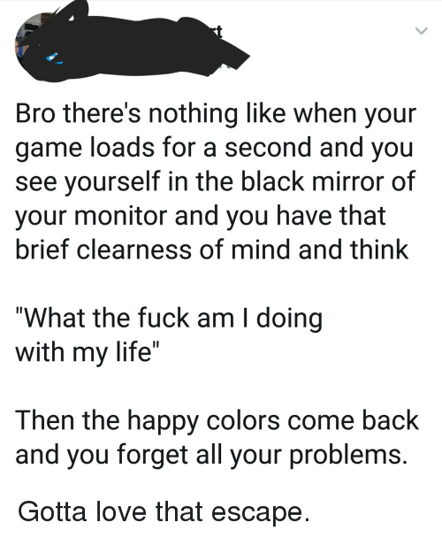"""Life, Love, and Black: Bro there's nothing like when your  game loads for a second and you  see yourself in the black mirror of  your monitor and you have that  brief clearness of mind and think  """"What the fuck am I doing  with my life""""  Then the happy colors come back  and you forget all your problems. Gotta love that escape."""
