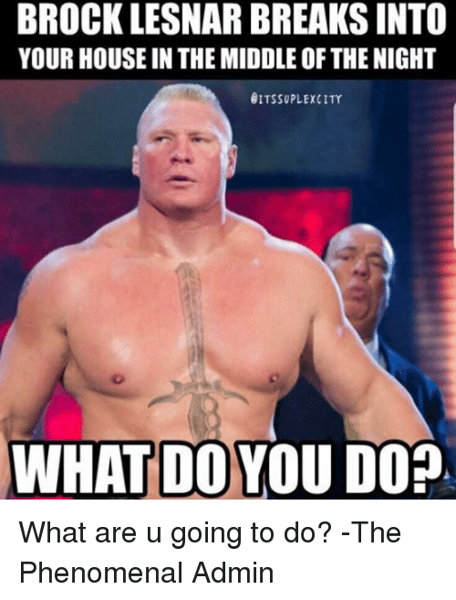 Memes, Phenomenal, and Brock: BROCK LESNAR BREAKS INTO  YOUR HOUSE IN THE MIDDLE OF THE NIGHT  ITSSUPLEXCITY  WHAT DO YOU DOP. What are u going to do?  -The Phenomenal Admin