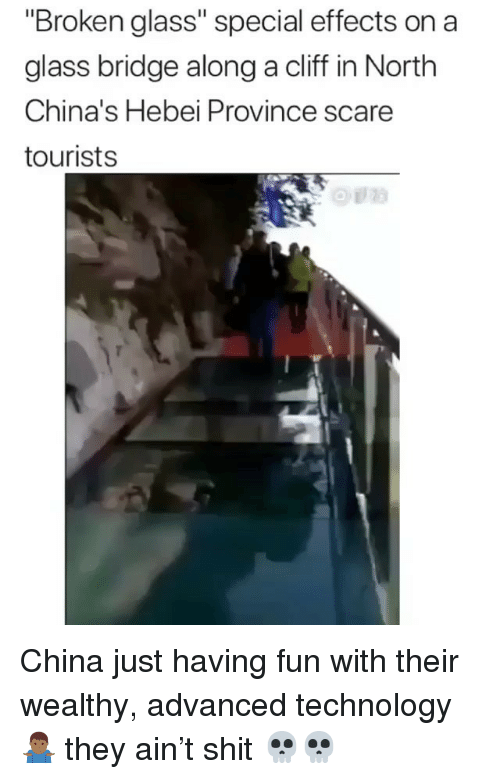 "Scare, Shit, and China: ""Broken glass"" special effects on a  glass bridge along a cliff in North  China's Hebei Province scare  tourists  @ii!的 China just having fun with their wealthy, advanced technology 🤷🏾‍♂️ they ain't shit 💀💀"