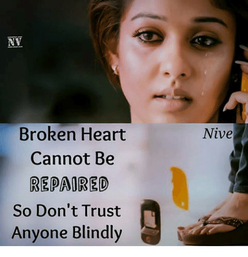 Broken Heart Cannot Be Repaored So Dont Trust Anyone Blindly Nive