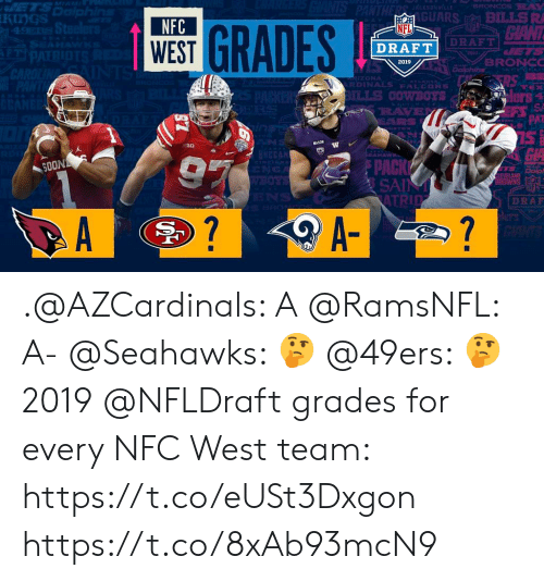 San Francisco 49ers, Memes, and Nfl: BRONCOSSRA  (GUARS BILLSRI  CIANT  NFC  WEST  GRADES  NFL  ds  DRAFT  BRONCO  2019  LONA  RDINALS FALCONS  RAVE  PAT  SOON  SA  NS  DRAF  A- .@AZCardinals: A @RamsNFL: A- @Seahawks: 🤔 @49ers: 🤔  2019 @NFLDraft grades for every NFC West team: https://t.co/eUSt3Dxgon https://t.co/8xAb93mcN9