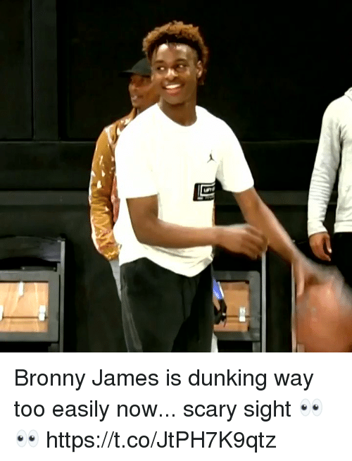 Memes, 🤖, and James: Bronny James is dunking way too easily now... scary sight 👀👀 https://t.co/JtPH7K9qtz