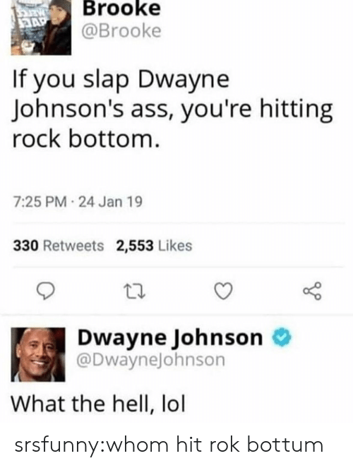 Ass, Dwayne Johnson, and Lol: Brooke  @Brooke  If you slap Dwayne  Johnson's ass, you're hitting  rock bottom  7:25 PM 24 Jan 19  330 Retweets 2,553 Likes  Dwayne Johnson o  @DwayneJohnson  What the hell, lol srsfunny:whom hit rok bottum