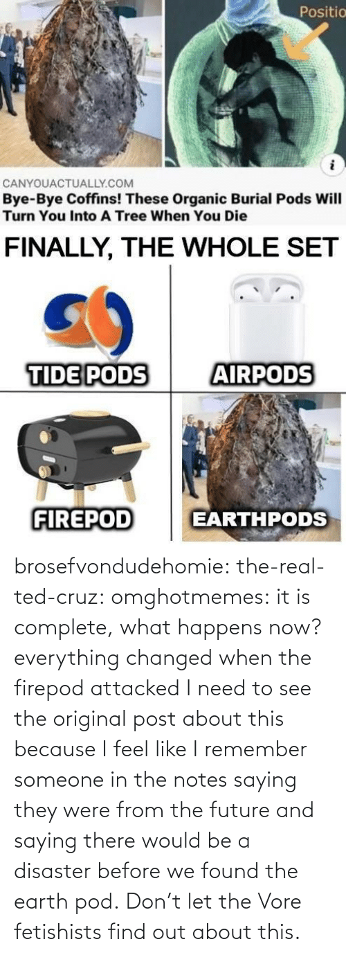 Future, Ted, and Ted Cruz: brosefvondudehomie: the-real-ted-cruz:  omghotmemes: it is complete, what happens now? everything changed when the firepod attacked    I need to see the original post about this because I feel like I remember someone in the notes saying they were from the future and saying there would be a disaster before we found the earth pod.    Don't let the Vore fetishists find out about this.