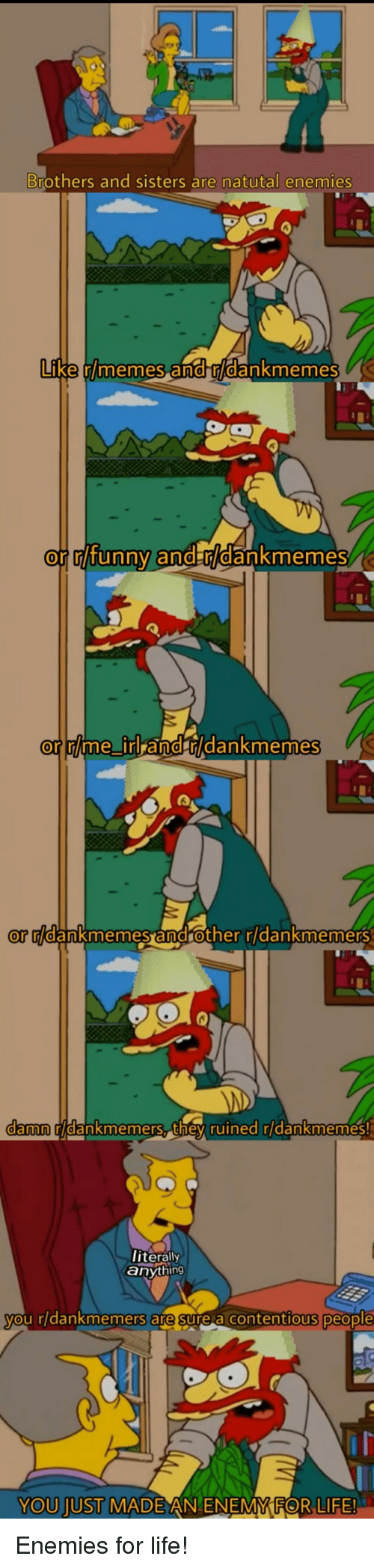 Life, Memes, and Dank Memes: Brothers and sisters are natutal enemies  Like  en  r/memes a  dankmemes  or  mlfunny andr/dankmemes  or lme irl  or rlme irl and rkdankmemes  or ridanknmennes  androther ridankmemersS  damn  ridankmemers, they ruined ridankmemesS!  iterally  anything  ou rldankmemers are sure a contentious people  YOU JUST MAD  E AN ENEMMFOR LIFE