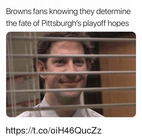 Memes, Browns, and Fate: Browns fans knowing they determine  the fate of Pittsburgh's playoff hopes https://t.co/oiH46QucZz