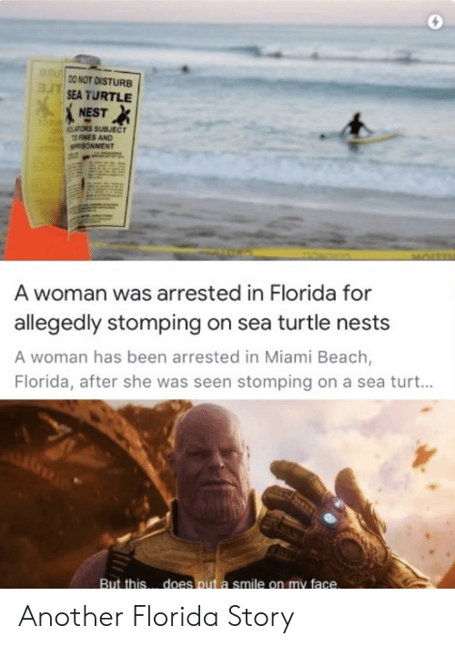 Beach, Florida, and Nest: BRU  DO NOT DISTURB  ASEA TURTLE  NEST  CLATORS SUBJECT  TO FINES AND  n  PRISONMENT  A woman was arrested in Florida for  allegedly stomping on sea turtle nests  A woman has been arrested in Miami Beach,  Florida, after she was seen stomping on a sea turt...  does put a smile on my face.  But this Another Florida Story