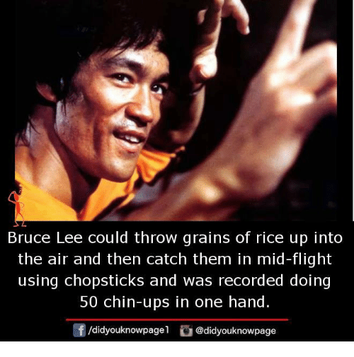 Memes, Ups, and Bruce Lee: Bruce Lee could throw grains of rice up into  the air and then catch them in mid-flight  using chopsticks and was recorded doing  50 chin-ups in one hand.  /didyouknowpage  @didyouknowpage
